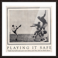 1938 Football Play it Safe Kick on Third Down Picture Frame print