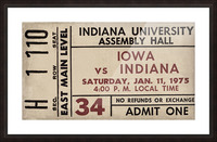 1975 Indiana vs. Iowa Basketball Ticket Metal Sign Picture Frame print