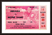 1941 Indiana vs. Notre Dame Football Ticket Canvas Picture Frame print