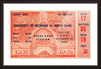 1942 Michigan vs. Notre Dame Football Ticket Stub Art Picture Frame print