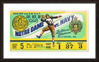 1948 Navy vs. Notre Dame Football Ticket Art Picture Frame print