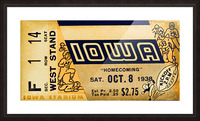 1938 Iowa Hawkeyes Football Ticket Remix Art Picture Frame print