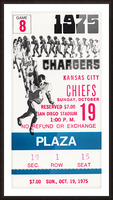 1975 San Diego Chargers Ticket Canvas Picture Frame print