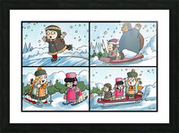 Winter Wonderland Fun   Ice Skating  Sledding and Tobogganing   4 panel Favorites for Kids Room and Nursery   Bugville Critters Picture Frame print