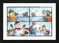 Winter Wonderland Fun   Snowballs  Snowforts and Snowman   4 panel Favorites for Kids Room and Nursery   Bugville Critters Picture Frame print