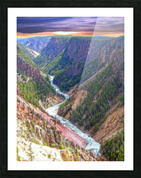 Grand Canyon of Yellowstone in the Waning Light of Day - Yellowstone National Park at Sunset Picture Frame print
