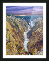 Grand Canyon of Yellowstone - The Falls and River in the Fading Light of Day  Yellowstone National Park at Sunset Picture Frame print