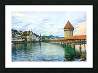 Chapel Bridge and Old Town at Sunset Lucerne Switzerland Picture Frame print