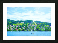 Sailboat On Lake Lucerne with Alpine Village in Background Picture Frame print