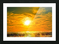Wild Waves Break as the Sun Sets over Catalina Island in Newport Beach California Picture Frame print