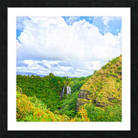 The Falls at the Mountain Overlook on Kauai Square Picture Frame print