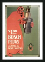 Vintage Bosch Spark Plugs Advertising Poster Picture Frame print