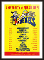 1978 Ole Miss Football Schedule Art Picture Frame print