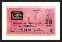 1938 Stanford Indians vs. Cal Bears Big Game Ticket Stub Art Picture Frame print