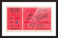 1965 Army vs. Rutgers Football Ticket Art Picture Frame print