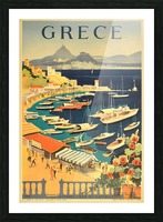 Greece original vintage travel poster Picture Frame print