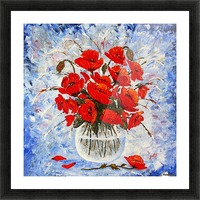 Morning Red Poppies original palette knife painting Picture Frame print