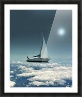 Navigating Trough Clouds Fantasy Collage Photo Picture Frame print