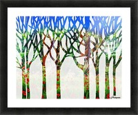 Watercolor Forest Silhouette Summer Picture Frame print