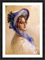Youbg lady with purple hat Picture Frame print