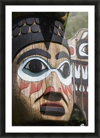 Detail of a figure carved into a Totem Pole, Totem Bight State Historical Park, Ketchikan, Southeast Alaska, USA, Spring Picture Frame print