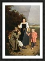 Peasant offering to a soldier a drink Picture Frame print