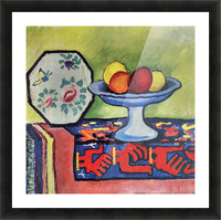 Still life with apple peel and a Japanese fan by August Macke Picture Frame print