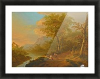 Travellers in a river landscape Picture Frame print