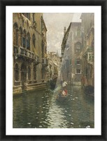 A family outing on a Venetian canal Picture Frame print
