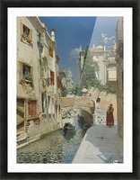 Venetian canal with the campanile of the Frari in the distance Picture Frame print