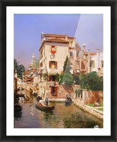 Gondoliers On A Venetian Canal Picture Frame print