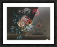 Still life of variegated carnations and other flowers on a ledge Picture Frame print