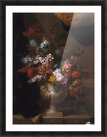 Flowers in a sculpted urns on a ledges Picture Frame print