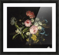 Bouquet of Chamomile, French roses and other flowers Picture Frame print