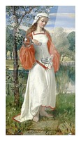 Allegorical Maiden in white dress Picture Frame print
