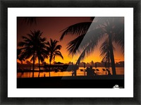 Palm trees silhouette on sunset tropical beach Picture Frame print