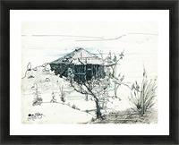 Hut on hill Picture Frame print