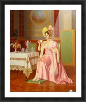 Lady having tea Picture Frame print