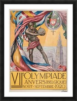 VII Olympiade, Anvers lithographic poster Picture Frame print