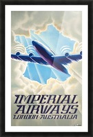 Imperial Airways London - Australia vintage travel poster Picture Frame print