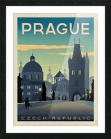 Prague vintage travel poster Picture Frame print