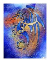 Dragissous V1 - blue dragon Picture Frame print