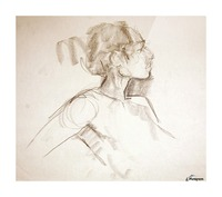 Female Profile Study Picture Frame print