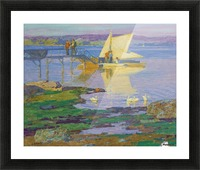 A boat with people by the dock Picture Frame print