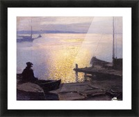 Fisherman in the sunset Picture Frame print