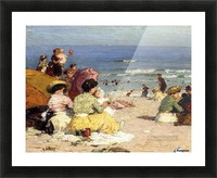 People relaxing by the beach Picture Frame print