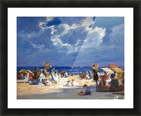People by the beach Picture Frame print