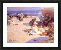 Picknickers on the Beach Picture Frame print