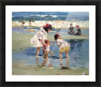 Girls playing in the water Picture Frame print