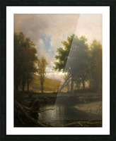 Landscape with Stream and Deer Picture Frame print
